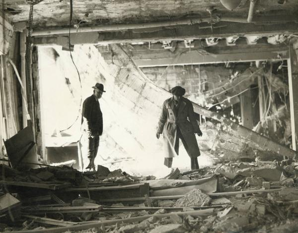 Detectives in rubble
