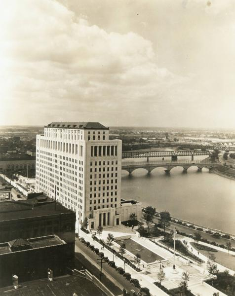 Ohio State office building and Scioto River photograph