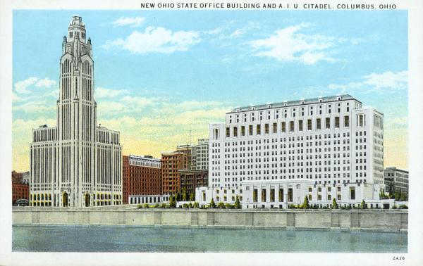 New Ohio State office building and A.I.U. Citadel postcard