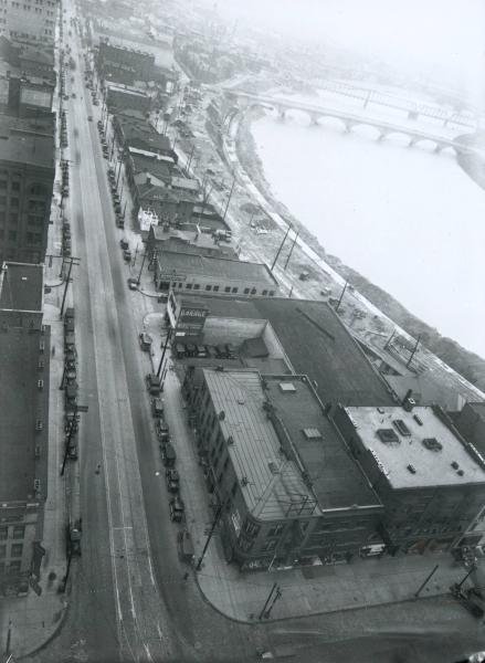 Civic Center and Scioto River floodwall photograph