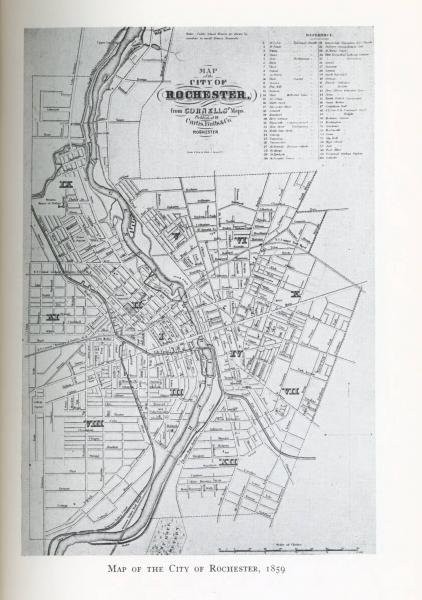 'Map of the City of Rochester, 1859' illustration