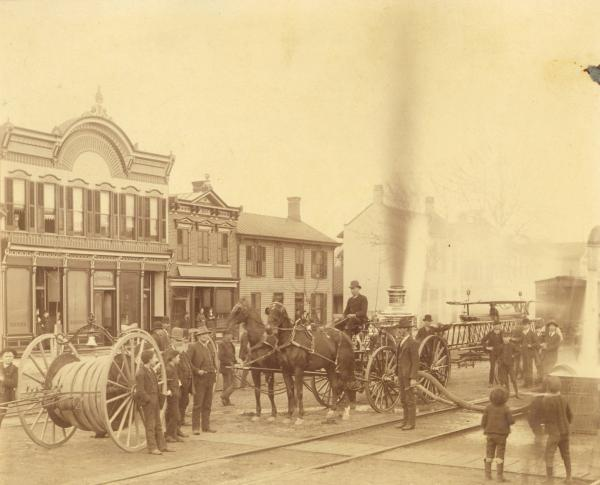 Fire engine and crew photograph