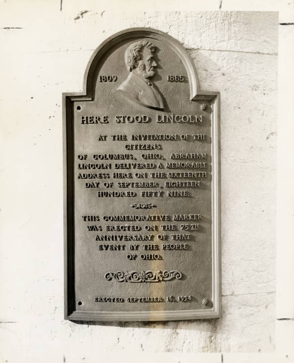 Lincoln plaque at Ohio Statehouse