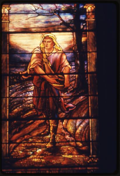 Old Stone Church stained-glass window photograph