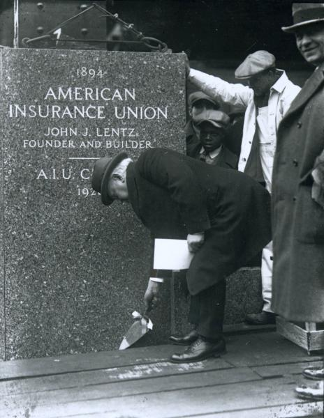 American Insurance Union Citadel cornerstone laying photograph