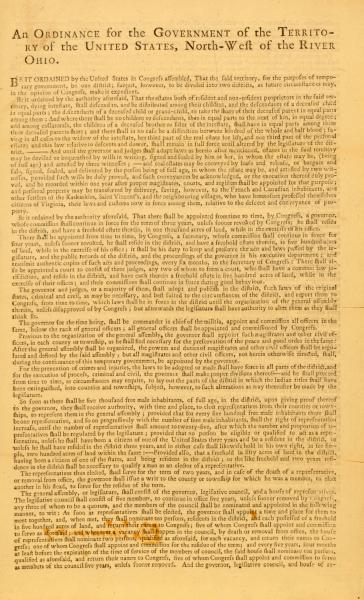 'Ordinance for the Government of the Territory of the United States, North-west of the River Ohio' print