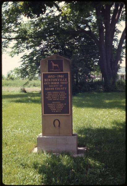 Bentonville Anti-Horse Thief Society marker photograph