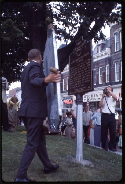 Unveiling historical marker for oldest concrete street photograph