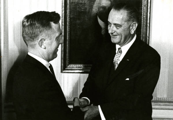 Lyndon B. Johnson and John J. Gilligan photograph