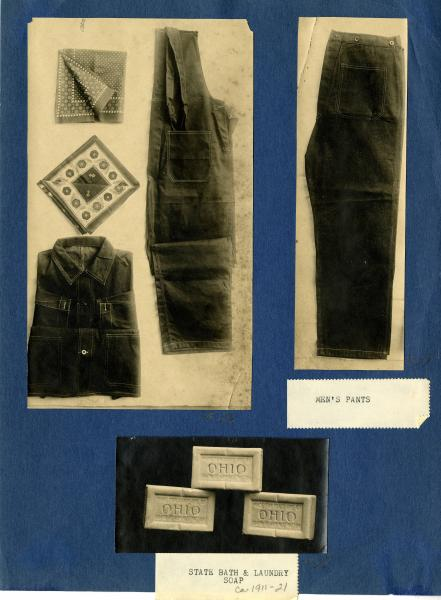 State-issued prison clothing and soap photographs