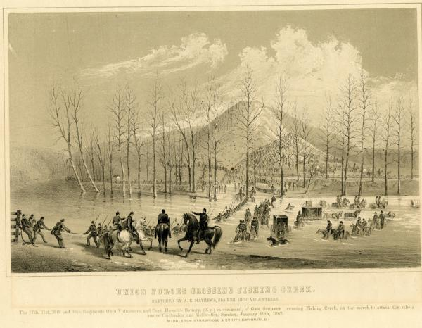 Union Forces crossing Fishing Creek lithograph