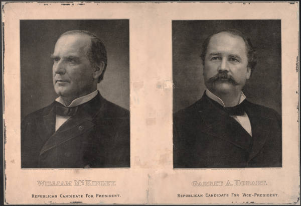 Election photographs of William McKinley and Garret A Hobart in 1896