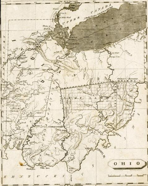1804 map of Ohio engraving