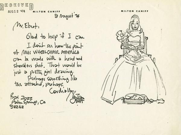 Milton Caniff letter and sketch, August 9, 1974