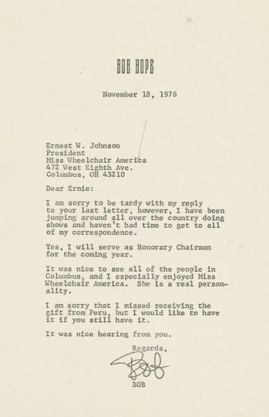 Bob Hope letter to Ernest Johnson, November 18, 1976