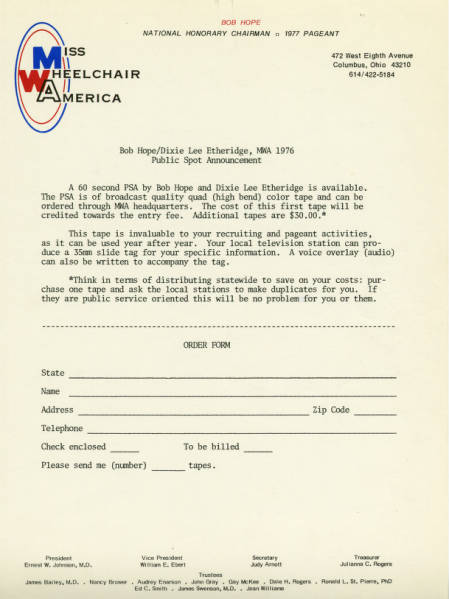 Bob Hope and Dixie Lee Etheridge PSA order form