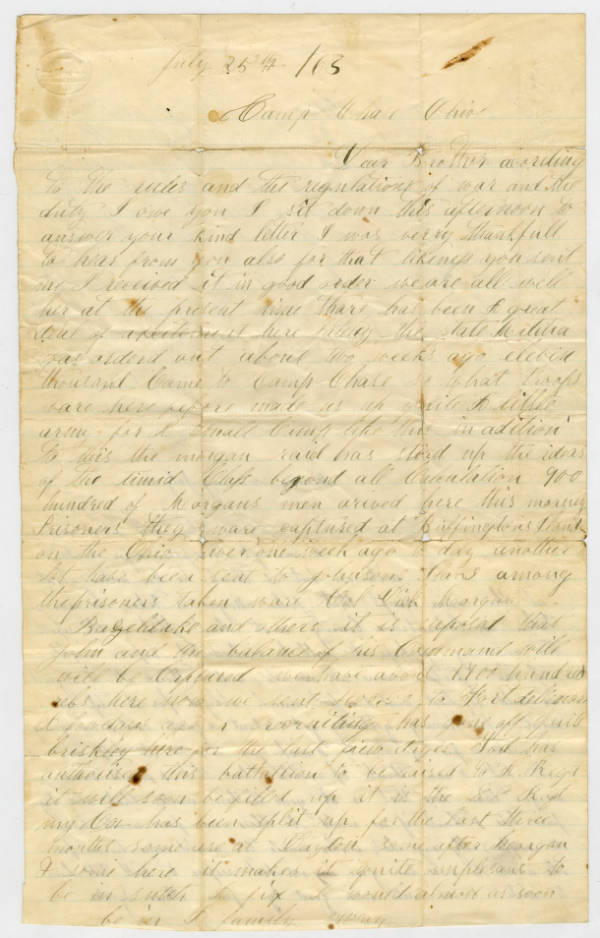 John Lyndes letter to brother, July 25, 1863