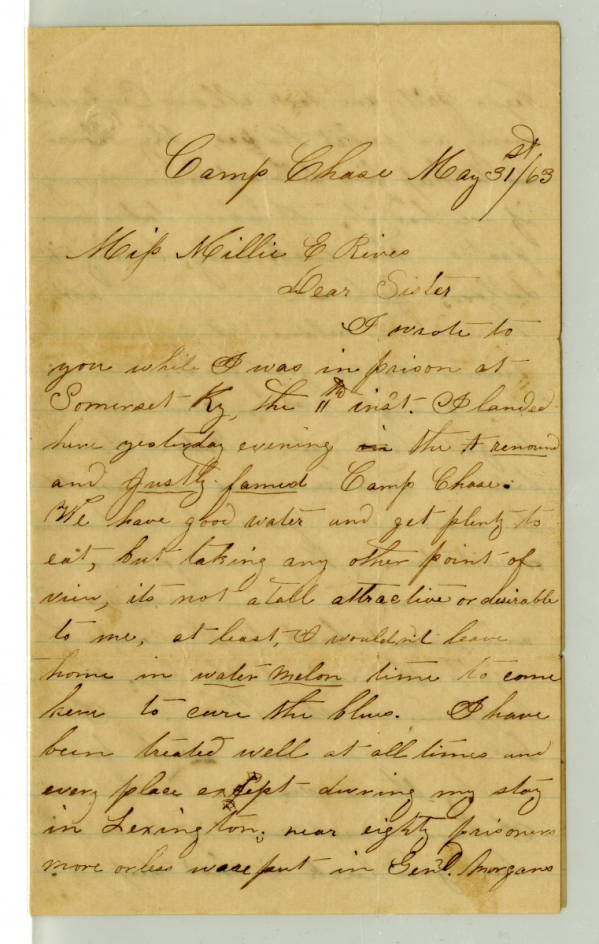 William M. Rives letter to Millie Rives, May 31, 1863
