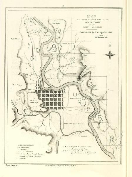 Scioto Valley with ancient monuments map