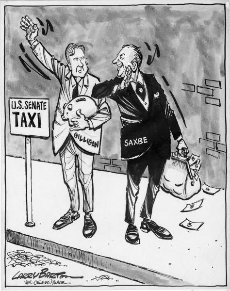 John Gilligan and William Saxbe political cartoon