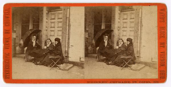 Whiskey Crusaders outside saloon stereograph