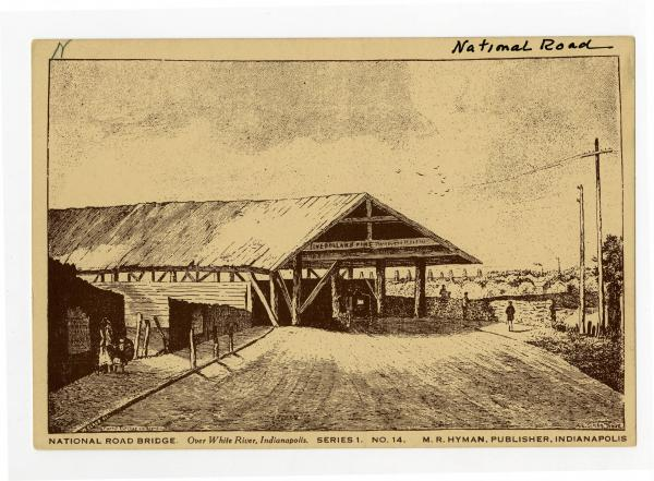 National Road bridge postcard