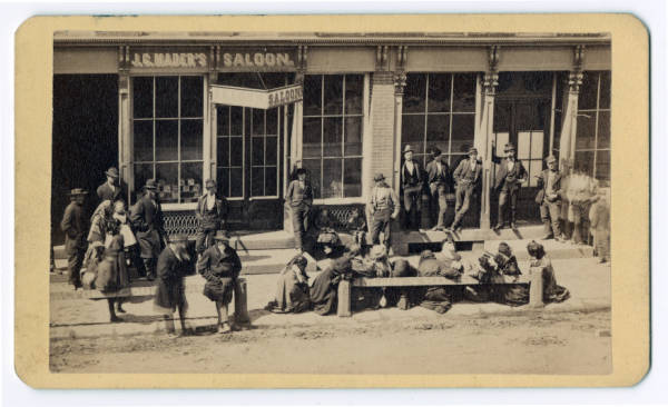 Temperance protest outside saloon photograph