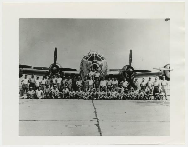 Rockwell International employees with B-29 Superfortress