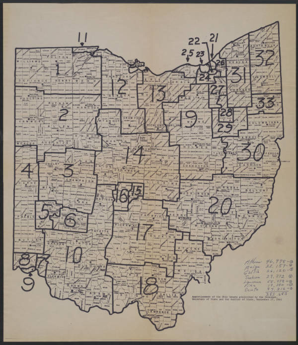 Apportionment of the Ohio Senate map