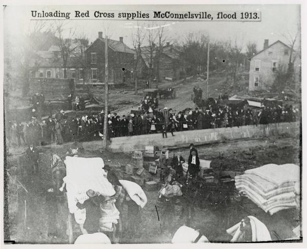 Red Cross supplies during 1913 flood