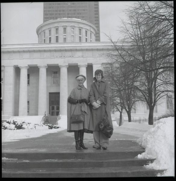 Women on steps of Statehouse photograph