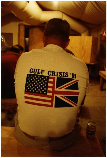 Soldier with 'Gulf Crisis '91' t-shirt photograph
