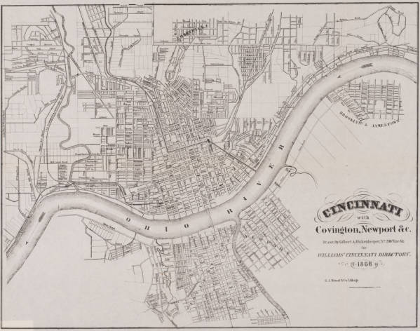 Cincinnati, Covington and Newport map