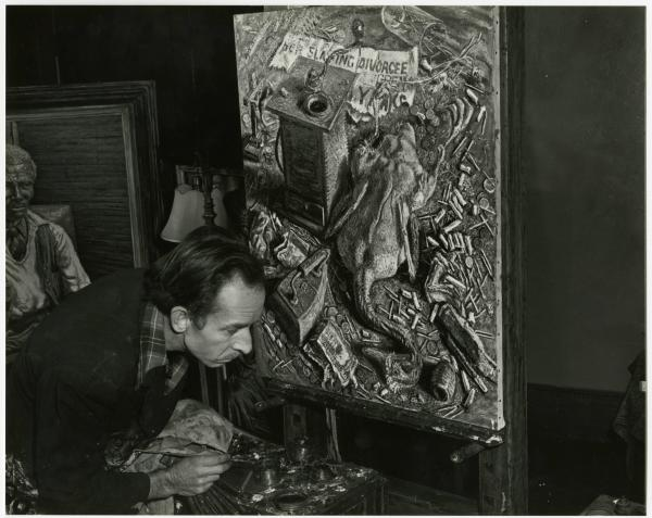 Emerson Burkhart with 'The Dead Duck' painting