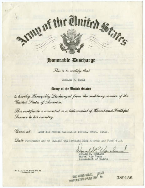 U.S. Army discharge certificate for C. Walder Parke