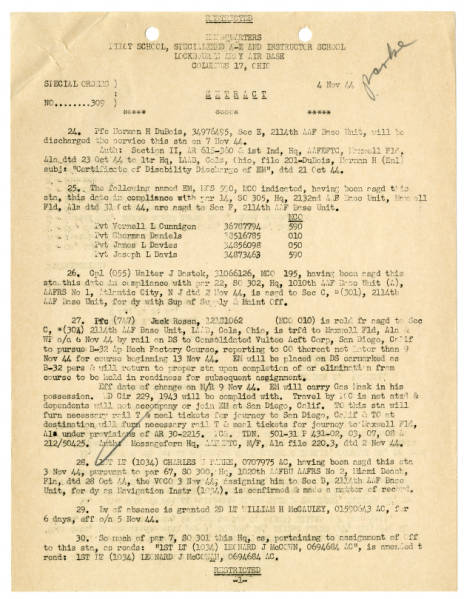 Lockbourne Army Air Base special orders, November 4, 1944