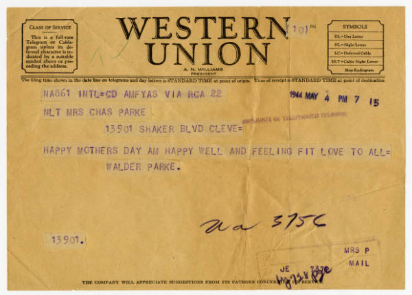 C. Walder Parke telegram to parents for Mother's Day, May 4, 1944