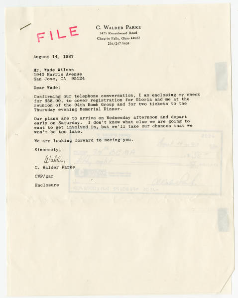 C. Walder Parke letter to Wade Wilson about reunion registration, August 14, 1987