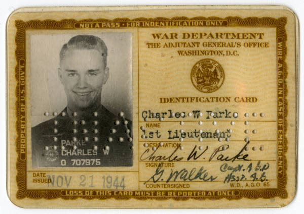 U.S. War Department identification card for C. Walder Parke