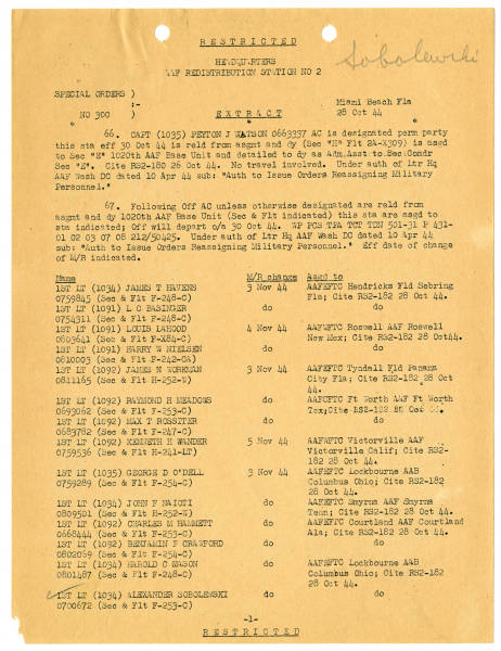 Miami Beach Redistribution Station special orders, October 28, 1944