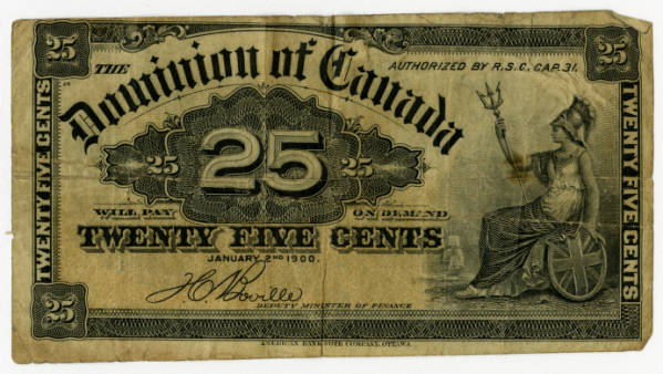Twenty-five cent Canadian banknote