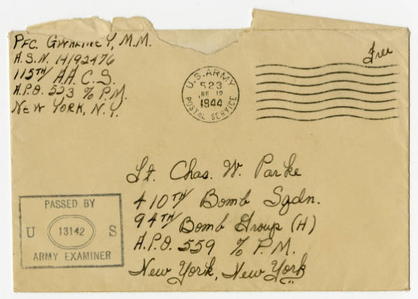 Pfc. M. M. Gwaltney letter to C. Walder Parke, July 11, 1944