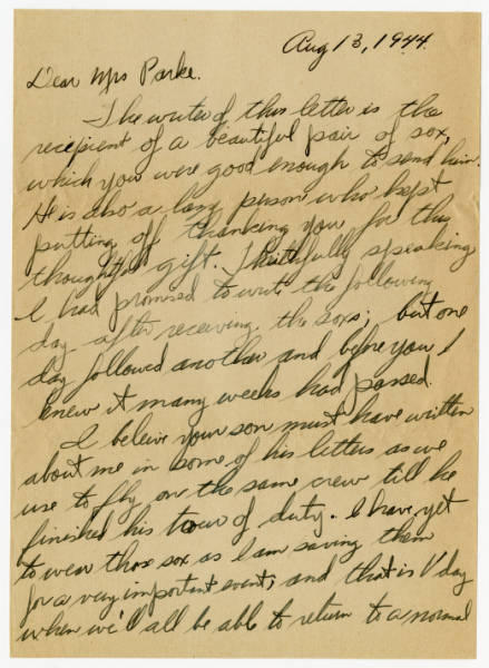 Ray Cabel letter to Mrs. Grace B. Parke thanking her for a gift, August 13, 1944