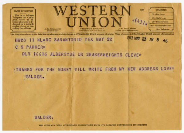 C. Walder Parke telegram to parents, May 23, 1943