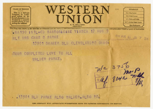 C. Walder Parke telegram to parents about completed tour, August 11, 1944