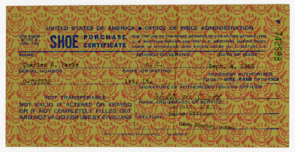 Office of Price Administration shoe purchase certificate for C. Walder Parke