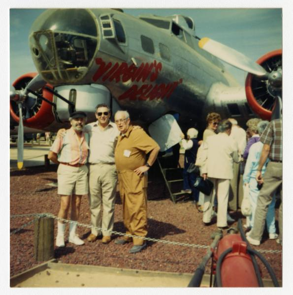 Three crew members with B-17 at 94th Bombardment Group reunion