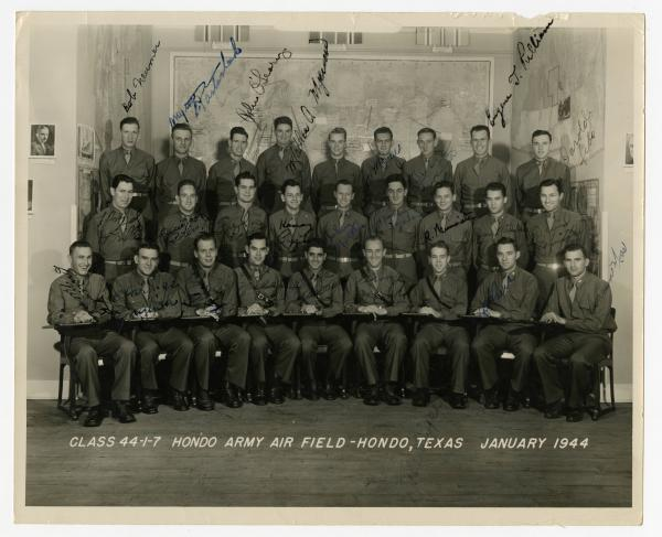 Hondo Army Air Field class of 1944 photograph with signatures