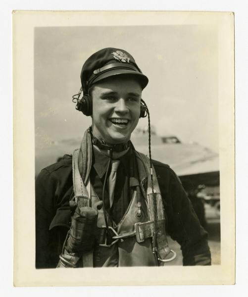 C. Walder Parke with flight gear photograph