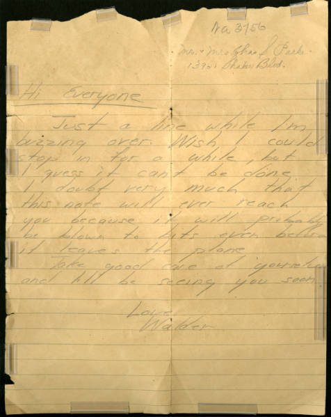 C. Walder Parke letter to parents dropped over Cleveland, April 4, 1944